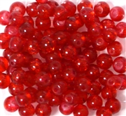25pc 6mm Glass Crackle Rounds Red
