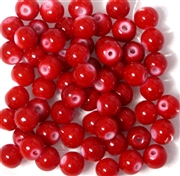 25pc 6mm Glass Rounds Red