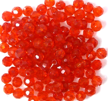20pc 4mm Glass Firepolish Rounds Siam Red