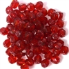 25pc 6mm Glass Firepolish Rounds Siam Red