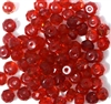 20pc 6mm Glass Firepolish Donuts Siam Red