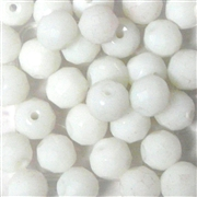 10pc 8mm Glass Faceted Rounds Chalk White