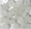 10pc Assorted Glass Nugget Cube Beads White