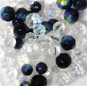 20pc 6-8mm Firepolish Mix Clear Black Assorted
