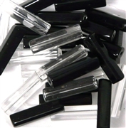 10pc 22x4mm Glass Rectangles Clear Black Mix