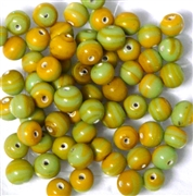 15pc 6mm Glass Rounds Yellow Green