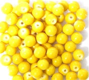 25pc 6mm Glass Rounds Yellow Opaque