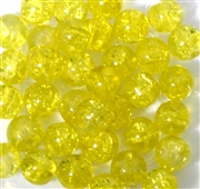 10pc 8mm Glass Crackle Rounds Yellow