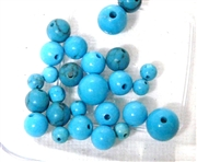 26pc Gemstone Chalk Turquoise Large rounds 4-6mm