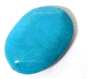 1pc Gemstone Chalk Turquoise Oval Faceted 35x26mm