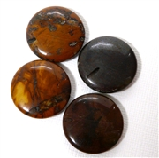 1pc Jasper Coin 25mm Side Hole