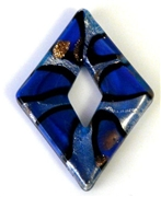 1pc foil glass diamond pendant blue spots 50x35mm