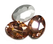 2pc Glass Crystal Stone Oval Medium 29x21mm Pink