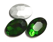 2pc Glass Crystal Stone Oval Medium 29x21mm Green