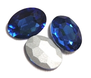 2pc Glass Crystal Stone Oval Medium 29x21mm Sapphire Blue