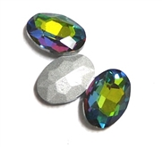 4pc Glass Crystal Stone Oval Small 10x14mm Green Vitreal