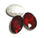 4pc Glass Crystal Stone Oval Small 10x14mm Red