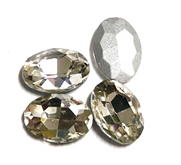 4pc Glass Crystal Stone Oval Small 10x14mm Crystal Clear