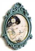 1pc resin setting 40x30mm antique frame dark grey