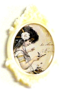 1pc resin setting 40x30mm antique frame ivory