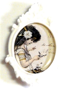 1pc resin setting 40x30mm antique frame white