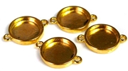 4pc gold plated antique bezel connectors 19mm