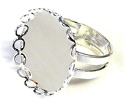 1pc silver plated ring base lace egde (fits 25mm)