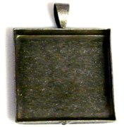 1pc antique silver 25mm setting square