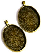 1pc oval pendant setting antique brass