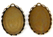 1pc lace edge settings antique gold 1 hole 25x18mm