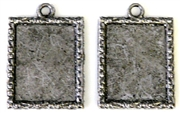2pc rectangle settings silver plated w/edge