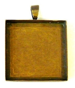 1pc antique brass 25mm pendant setting square