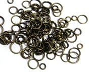 100pc Assorted Antique Brass Jump rings 4-8mm