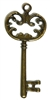 2pc Ornate Skeleton Key Charm Antique Brass 68x30mm