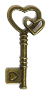 2pc Double Heart Skeleton Key Charm Antique Brass 46x20mm