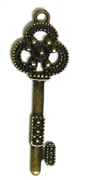 3pc Dotted Trio Skeleton Key Charm Antique Brass 42x14mm