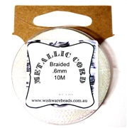 10m .6mm Braided Thread Metallic Clear