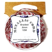 10m .6mm Braided Thread Metallic Red Silver