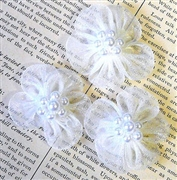 1pc lace flowers white w/pearls 30mm