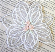 1pc lace flower white w/blush center 8cm