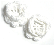 2pc chrochet blossom flowers 30mm white