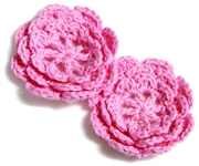 2pc chrochet blossom flowers 30mm candy pink