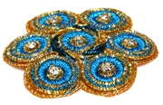 1pc large metallic flower w/ rhinestones aquamarine blue