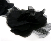 1pc black organza ruffled lace flower