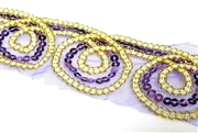 20cm sequined mesh swirl lace purple