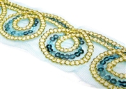 20cm sequined mesh swirl lace aquamarine