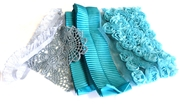 6pc assortment lace packet purples, teals - 5-20cm pieces