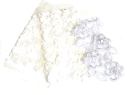 3pc assortment lace packet white & silver - 5-12cm pieces