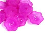 30pc 11mm cupped flowers lucite fuchsia