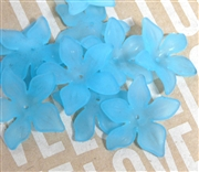 6pc Lucite Star Flowers 27mm Aqua Blue